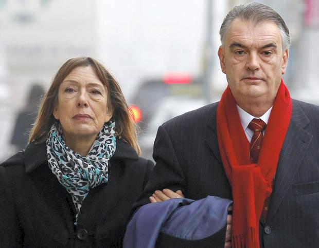 Court actions: Jules Thomas with her partner Ian Bailey outside the High Court in Dublin last Thursday.