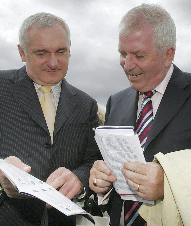 Bertie Ahern and Charlie McCreevy at the Galway Races