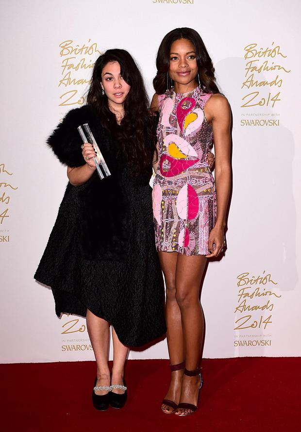 Simone Rocha (left) at the British Fashion Awards with Naomie Harris.
