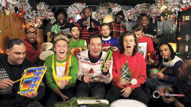 One Direction with Funky Christmas Jumpers