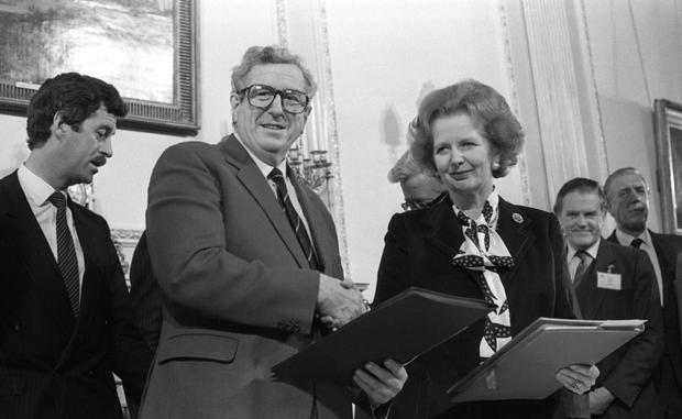 Signing of the Anglo-Irish Agreement at Hillsborough Castle, 15th November 1985... An Taoiseach Dr Garret Fitzgerald shakes hands with British Prime Minister Margaret Thatcher. Pic: Matt Walsh