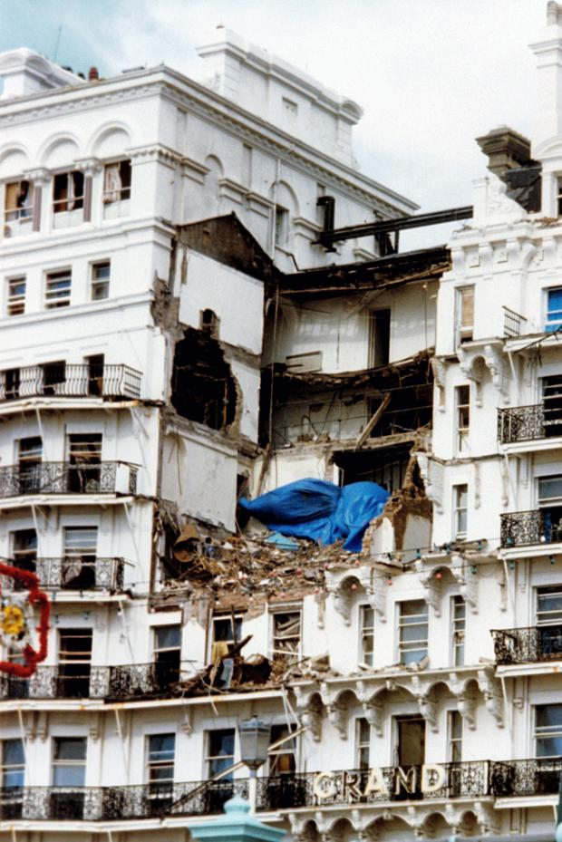 The aftermath of the bombing of the Grand Hotel, Brighton.
