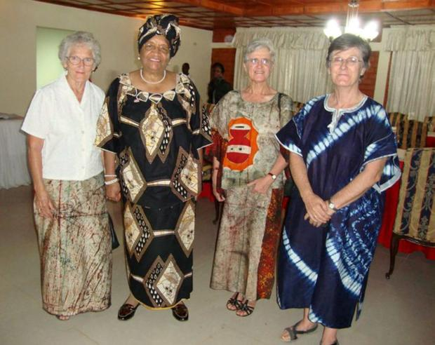 From Left: Sister Mary Mullin, Ellen Johnson Sirleaf, President of Liberia and Sisters Anne Kelly & Bridget Lacey.