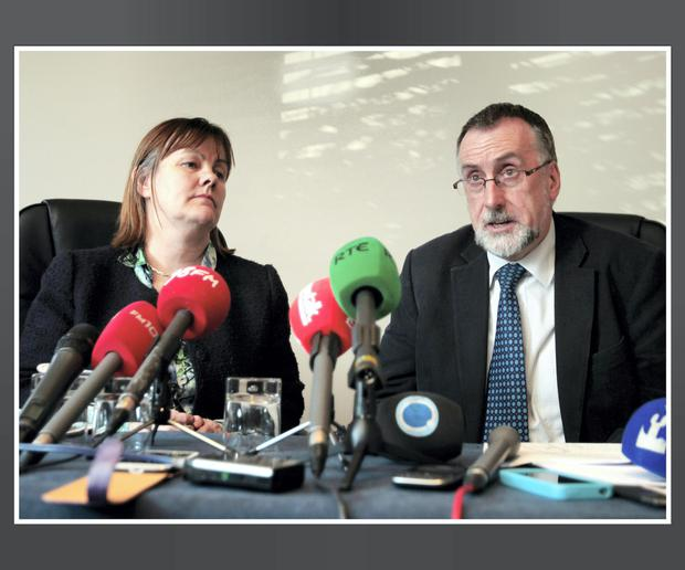 Shay Cody, Chairman of the ICTU Public Services Committee pictured with Sheila Nunan, Vice Chairman. Pic. Frank McGrath.