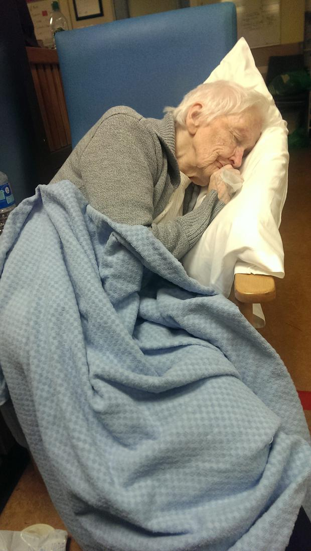 Sheila Malone (86) was forced to wait in a chair for 16 hours in the Beaumont emergency department last month after presenting with severe chest pains and vomiting.