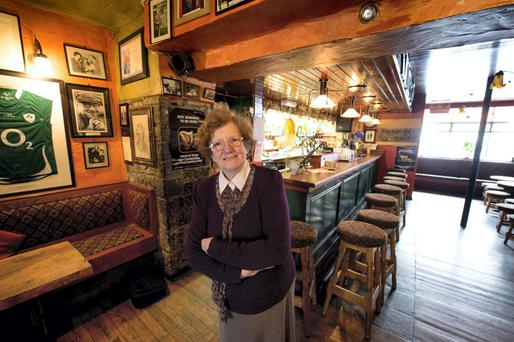 Mary Keane, widow of the late John B Keane, pictured in the family bar in Listowel, Co Kerry. Photo: Domnick Walsh.