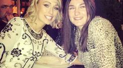 Stephanie Roche and Katie Taylor pose for a picture at Stephanie's homecoming on Saturday night. Katie later posted this photo to her Instagram account.
