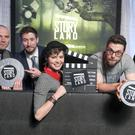 Tadhg Hidden from (R)onanism/Fantastic Films, Shaun Blaney from FARR/Stirling Film and TV Productions, Sarah Jane Seymour from Rapt/Blinder Films, Nick Lee from Ctrl/Black Sheep Productions and Mark Doherty from Burning Wishes/Deadpan Pictures at the announcement yesterday.