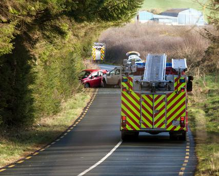 The collision scene between Coppeen East and Crookstown in Co Cork where a woman lost her life. Picture: John Delea