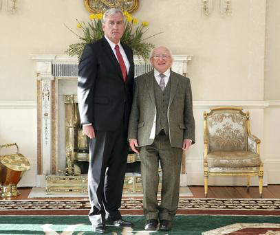 President Higgins with newly appointed Canadian Ambassador to Ireland Kevin Vickers. Picture: Maxpix