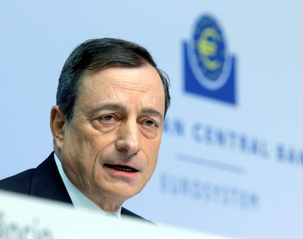 Mario Draghi faces the media in Frankfurt recently. Photo: AP