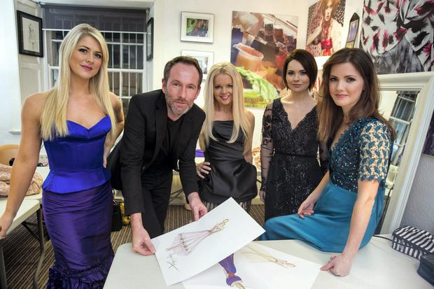 Irish designer Synan O'Mahony dressing the four singers Susan McFadden, Mairead Nesbit, Mairead Carlin and Lynn Hilary from Celtic Women for their upcoming world tour. Picture:Arthur Carron