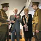 Heritage Minister Heather Humphreys with Gay Byrne and actors Thomas Reilly (left) and John Cronin at the Stories of the Irish at War, 1914-1915 exhibition, which has opened in Collins Barracks in Dublin. Photo: Frank McGrath