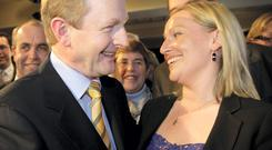 Lucinda Creighton (pictured with Enda Kenny) has topped the poll as the number one female politician Irish people would date this Valentine's Day. Photo: Gerry Mooney