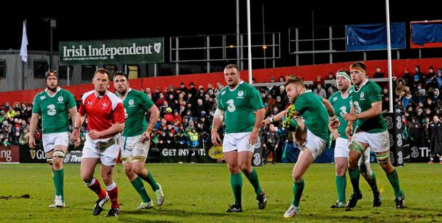 Ian Madigan in action at Irish Independent Park on Friday