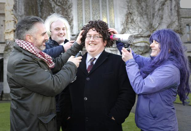 Professor Pól Ó Dochartaigh, Registrar and Deputy President at the launch of the NUI Galway 'Shave or Dye' Cancer Awareness Initiative with John McGuire, Fat Tonys Barbers, President of NUI Galway Students Union Declan Higgins and event organiser Dr Grace McCormack. Photo: Aengus McMahon