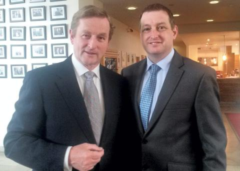 Taoiseach Enda Kenny with John McNulty, whose appointment to the board of IMMA shortly before his candidacy for the cultural and educational panel of the Seanad was announced caused controversy last year.