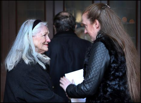 Colm Rapple's daughter Simone and wife Nuala attending the funeral of the former Journalist at St. Kevins Church on Harrington Street.