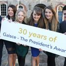 From left to right are, Emmet Ryan, Longford, lisa McNelis, Clare, Ruth Scales, Offaly, Julie Patterson, Sligo, Avril Buttle, Wexford, and Stephen Loftus, Mayo, all Gold Award recipents in the Gaisce, The President's Awards at Dublin Castle. Picture credit