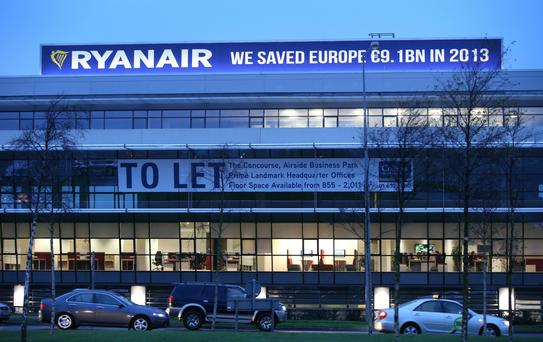 The Ryanair sign at Dublin Airport.