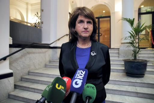 Joan Burton was the first to pounce. She suggested the Socialist TD had referred to gardaí as dogs and said Coppinger's party colleague, Joe Higgins, had never resorted to such offensive language in all their years of verbal sparring. Photo: Arthur Carron