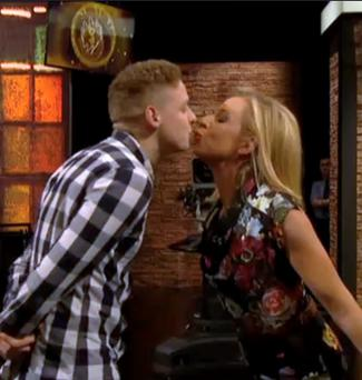 Katie Hopkin puckers up to an audience member during Friday's Late Late Show