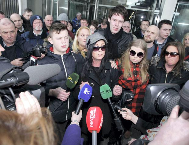 Water protester Audrey Clancy speaking to media at the High Court in Dublin this morning. Photo: Collins Courts