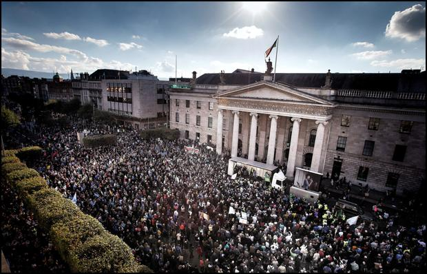 PEOPLE POWER: Thousands of protesters gathered in O'Connell Street, Dublin in October last year. Photo: David Conachy