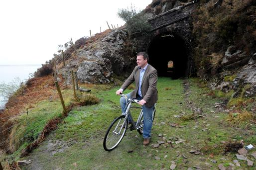 Scenic Route: Junior Transport Minister Alan Kelly on the old Glenbeigh to Cahersiveen railway line after he launched a €3.4m greenway development last March. Photo: Don MacMonagle