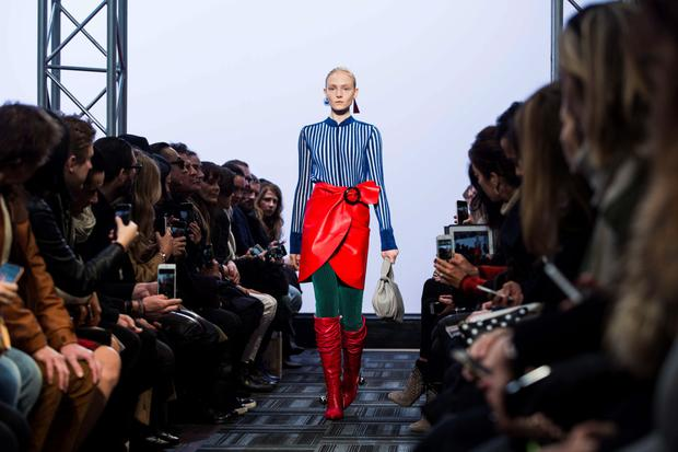A model presents a creation from British designer JW Anderson during the 2015 Autumn / Winter London Fashion Week in London