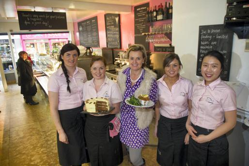 Claire Nash (centre) of Nash 19 cafe restaurant with staff Erica Poceviciute, Carol Maher, Grace Kelly and Enby Hwang. Pic Michael Mac Sweeney/Provision