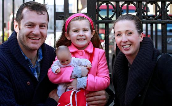 Kevin and Addie Croke, with their daughter Juliette (4), outside the Circuit Civil Court.