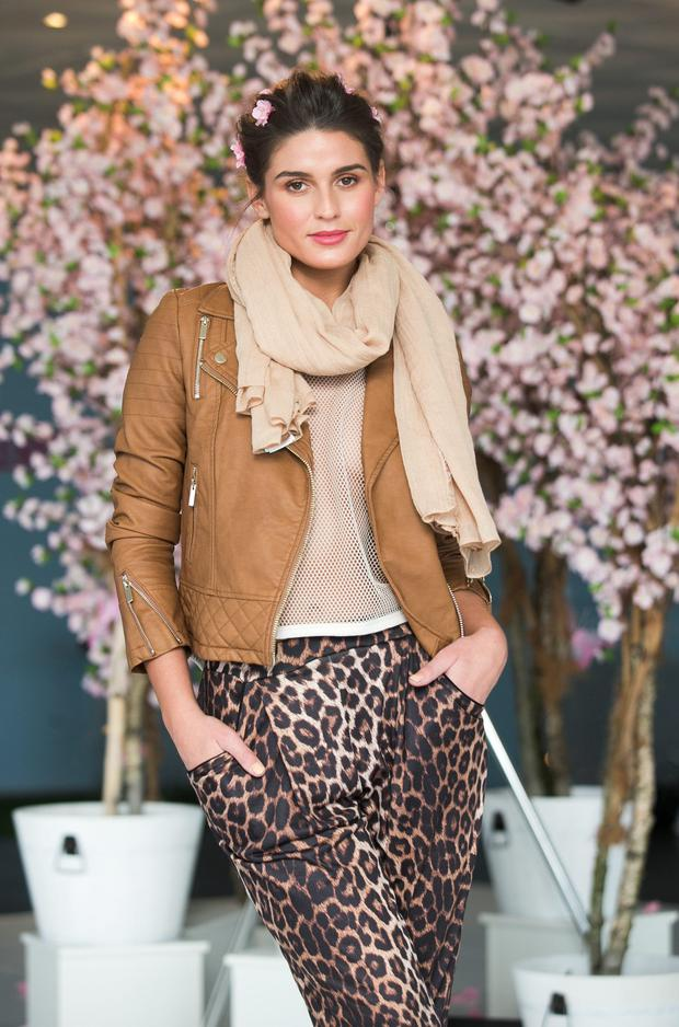 Lynn pictured at the launch of Clerys Spring Summer 2015 collection in Dublin. Lynn wears a Tan biker jacket €74 with Leopard print trousers both Miss Selfridge €34. Photo: Leon Farrell/Photocall Ireland.