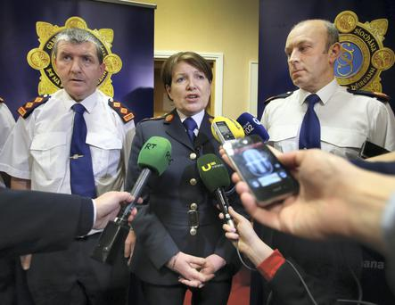 Garda Commissioner Noirin O Sullivan with Chief Supt Pat Clavin from the Garda Professional Standards Unit and Asst Commissioner John Twomey. Photo: Frank Mc Grath
