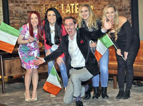 Ryan Tubridy pictured with Eurovision hopefuls, from left, Kat Mahon , Nikki Kavanagh, Erika Selin and Molly Sterling on the set of the Late Late Show. Photo: Collins