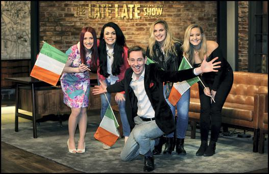 Ryan Tubridy pictured with Eurovision hopefuls, from left, Kat Mahon , Nikki Kavanagh, Erika Selin and Molly Sterling on the set of the Late Late Show. Photo: Steve Humphreys
