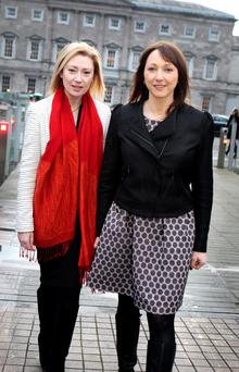 Avril Daly, chair of the Genetic and Rare Disorders Organisation (GRDO) (left) and Eibhlin Mulroe,CEO of Irish Platform for Patients' Organisations,Science and Industry at Leinster House yesterday