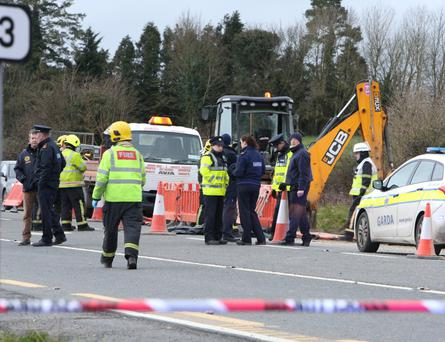 The scene on the N7 on the Limerick side of Nenagh where a gas explosion killed a worker. Photo: Liam Burke/Press 22