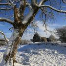 A snow-covered Fenagh Abbey in Co Leitrim