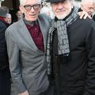 Shay Healy and Colm Wilkinson at the funeral of Jim McCann