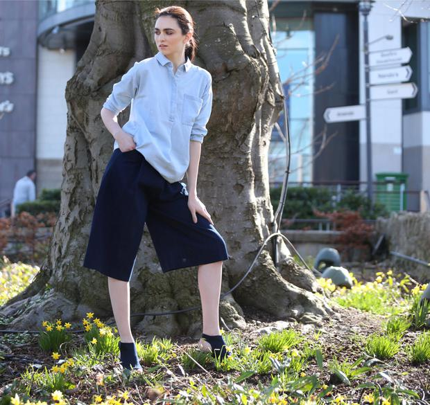 Pictured at Dundrum Town Centre's Spring Summer 2015 fashion showcase model Maria Boardman showcases looks from the SS15 ladieswear collections in Dundrum Town Centre. Maria wears Oversized chambray shirt dress €145 Denim culottes €185 (both Acne at BT2) and Navy suede ankle boot €49 (Marks & Spencer). Picture: Leon Farrell/Photocall Irelan