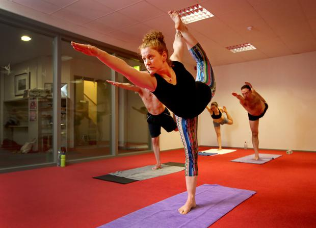 Torture chamber: Anne Marie Browne during her daily practice of bikram