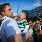 Jamie Heaslip with Irish fan Charlie Hassett 3 months from Tipperary. Photo: Gareth Chaney