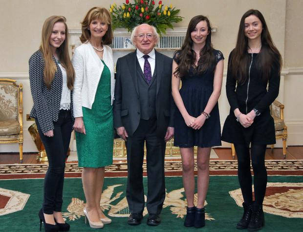 President Michael D Higgins pictured with Adi Roche and from left Emer Hickey, Ciara Judge and Sophie Healy Thow