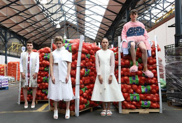In Dublin's fruit market wearing outfits from finalists in the Vodafone DIT Fashion Show (above l to r) DIT students Sarah Trainor, Eilera Ellie, Mei Ling Tong and Zack O'Rourke. Below left: Nick Martintz. Photograph: Sasko Lazarov / Photocall Ireland