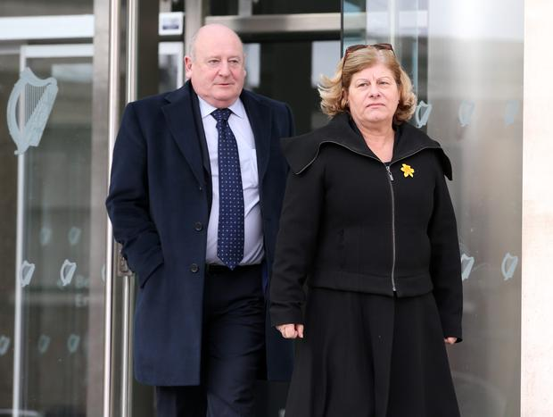 Elaine O Hara's father Frank pictured with his partner Sheila Hawkins at the Courts of Criminal Justice yesterday. Photo: Frank McGrath