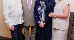 John McColgan, Gay Byne with his wife Kathleen Watkins and Moya Doherty at John's photographic exhibition in House Restaurant in Howth.