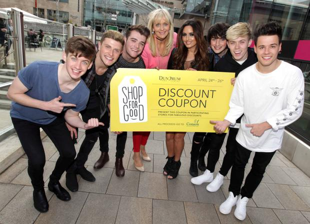 TV presenter Miriam O'Callaghan, model Nadia Forde and boyband Hometown in Dundrum Town Centre yesterday to launch the 'Shop for Good' charity fundraising initiative with Irish charity Console. Photo: Mark Stedman