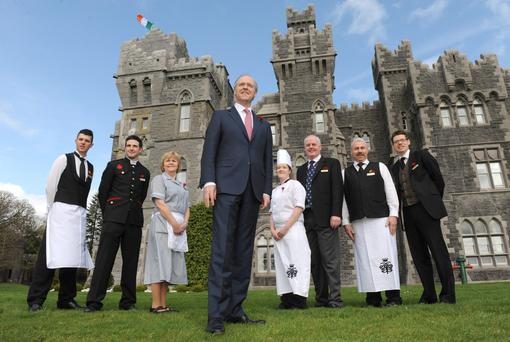 Niall Rochford, Ashford Castle manager with staff members. Photo: Damien Eagers
