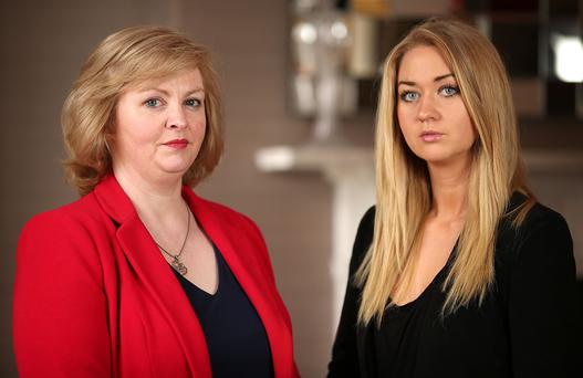 """EMOTIONAL: Breda O'Brien, who says she doesn't """"want to let the bullies win"""" after receiving death threats, with Niamh Horan. Photo: Gerry Mooney"""